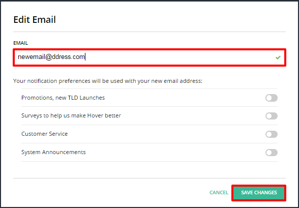 How to: Update your Hover account contact e-mail address